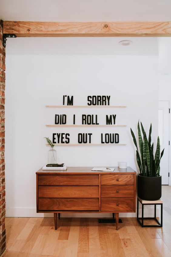 """Letters & Ledges by Refined Design - """"I'm sorry, did I roll my eyes out loud?"""" - Funny and inspirational quotes - modern wall decor - modern art - 3 maple wood ledges & 279 letters. Customize your own letter wall art sign. Bedroom decor, mid century and Scandinavian style decor."""