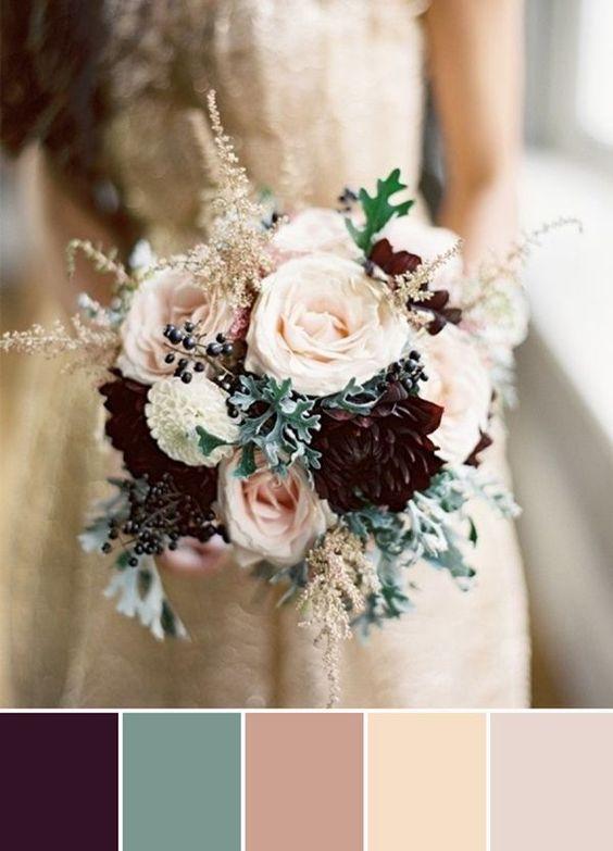 Ciruela, verde y nude para decorar tu boda.