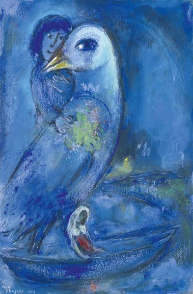 """MARC CHAGALL (1887-1985) - L'OISEAU BLEU, 1952 - Gouache, pastel, encre de couleurs[...], mis en vente lors de la vente """"Art Impressionniste et Moderne"""" à Tajan   Auction.fr"""