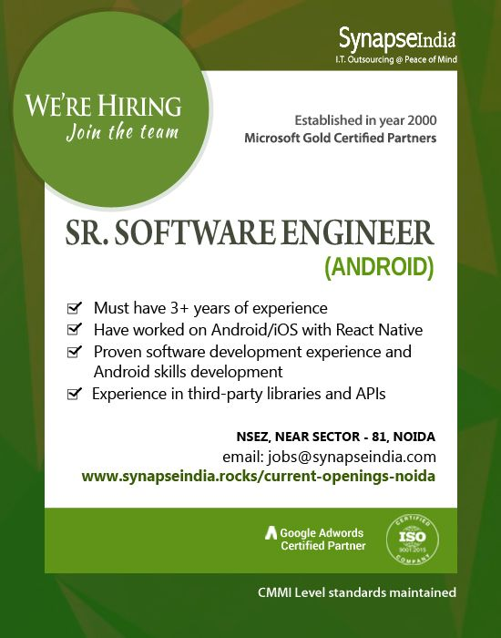 Synapseindia Jobs Sr Software Engineer Android Software Engineer Skills Development Writing Units