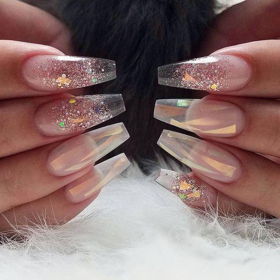 Pin By Jazmin Flores On Baddie Nails Transparent Nails Coffin Shape Nails Long Nail Designs