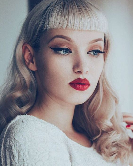 betty bangs, fringe, rockabilly, red lips, retro, retro makeup, miss bo,