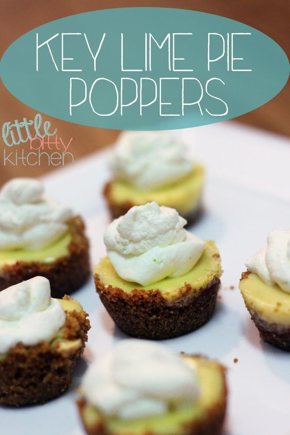 Little Bitty Kitchen: Key Lime Pie Poppers. Key lime pie bites made in a mini muffin pan #keylimepie #dessert #recipe