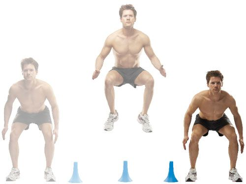 Lateral cone hop Stand next to a 1ft-tall cone or box, feet shoulder-width apart. Jump sideways over the cone, then immediately jump back to the other side.