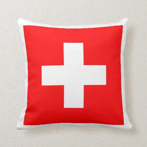 Swiss Flag I Love Switzerland Red And White Throw Pillow Zazzle Com White Throw Pillows Throw Pillows White Throws