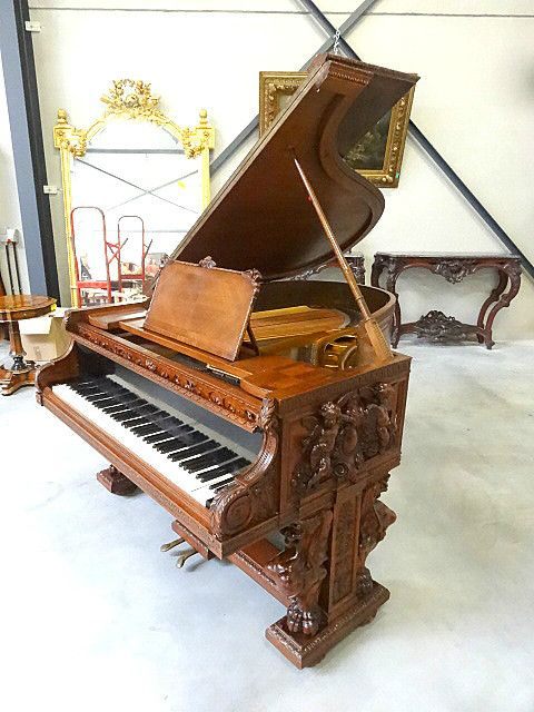 19th century walnut piano. #EuropeanAntiques #AntiquePianos