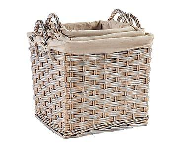 Set de 3 cestas de mimbre y poliéster Caitlin - marrón
