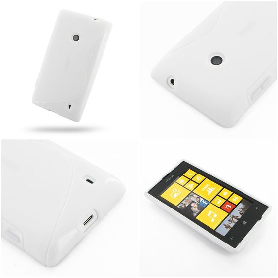 PDair Soft Plastic Case for Nokia Lumia 525 (White/S Shape pattern)