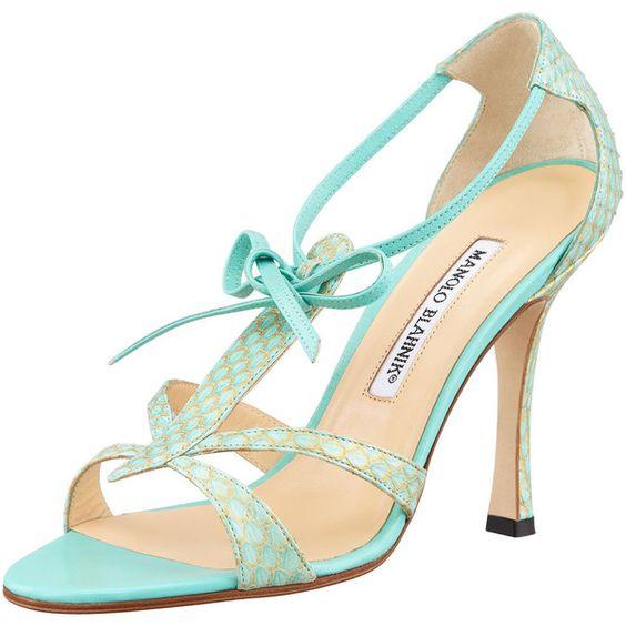MANOLO BLAHNIK Venusa Strappy Snakeskin Sandal, Light Green ($785) ❤ liked on Polyvore