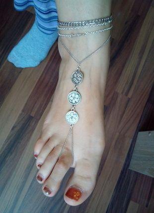Fußkette mit Anhänger mit Blumenmotiv