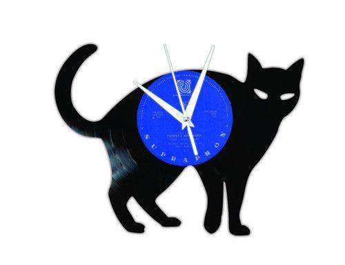 vinyl record clock - cat