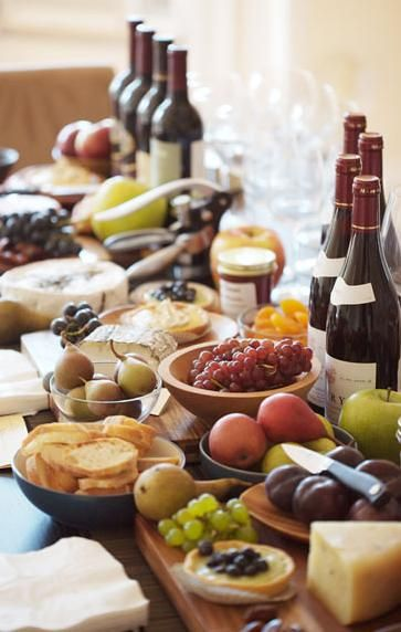 A perfect wine and cheese table.