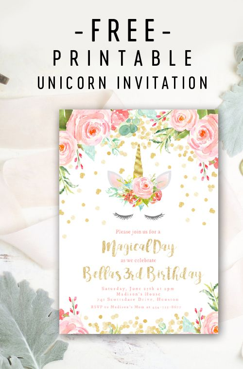 Free Editable Birthday Party Invitation Template Unicorn Gold