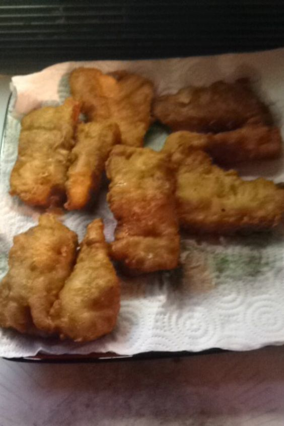 Tempura fried walleye. Hand caught, cut, battered, fried, and ate