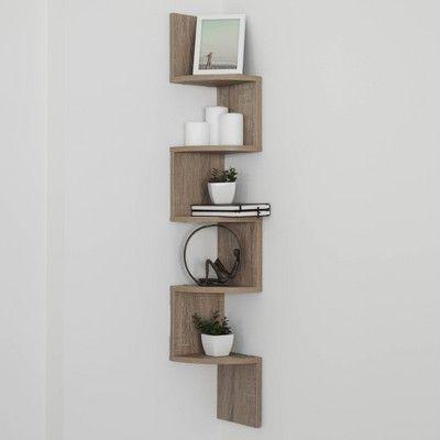 Zig Zag Corner Shelf Weathered Oak In 2020 Corner Shelves Floating Shelves Shelves