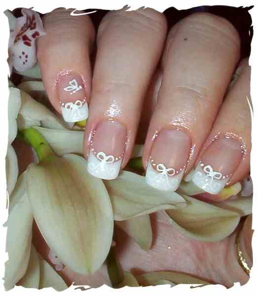 WEDDING NAILS WITH RIBBONS AND BUTTERFLY DIY
