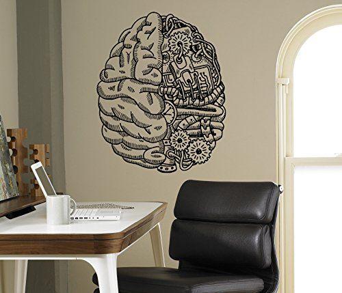 Cyber Brain Wall Vinyl Decal Droid Robot Wall Sticker Home Interior Living Room Housewares Design Door Stickers Wall Graphics Children's Room Custom Decals 6(rbt)