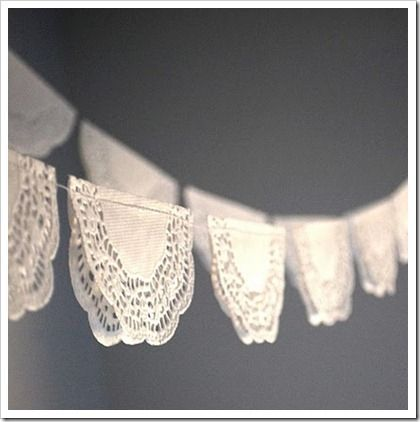 a DIY version of lace bunting using paper doileys.