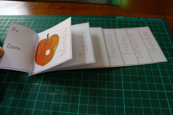 A small book to practise the days of the week, based on The Very Hungry Caterpillar.: