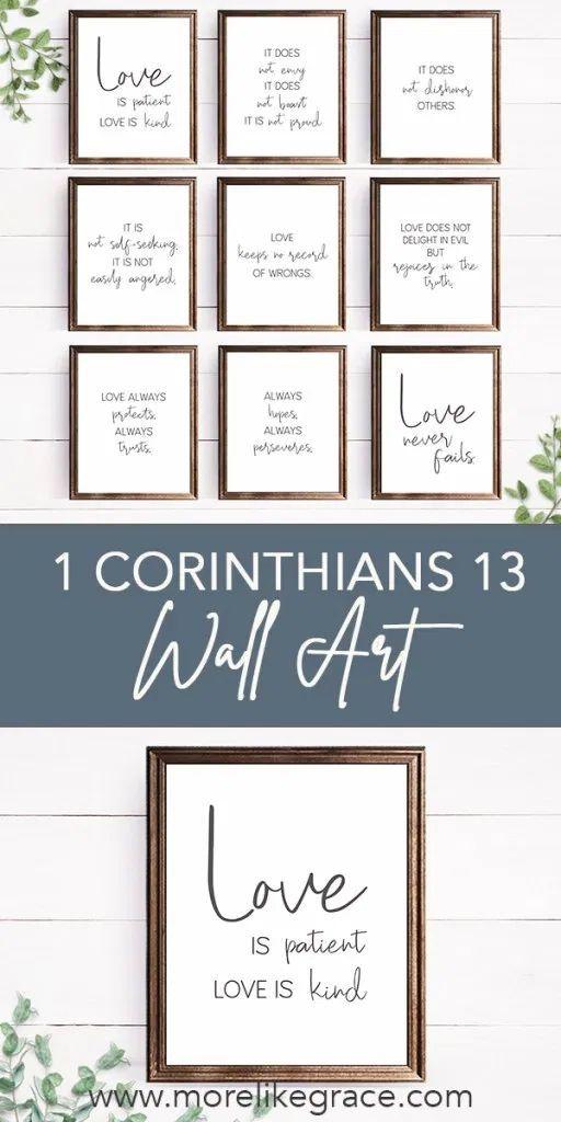 1 Corinthians 13 Wall Art Digital Print Set In 2020 Diy Prints Scripture Print Bible Verse Wall Art