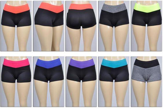 women's contrast waistband yoga shorts Case of 72