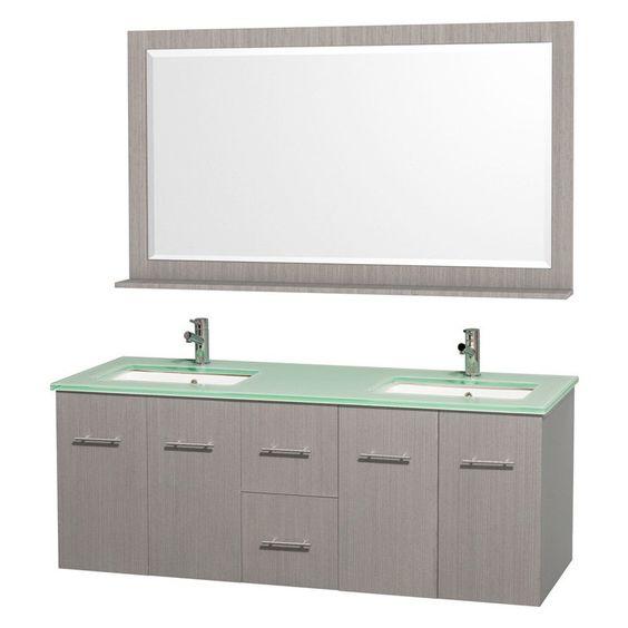 Have to have it. Wyndham Collection Centra 60-in. Double Bathroom Vanity Set - Gray Oak - $1899 @hayneedle.com