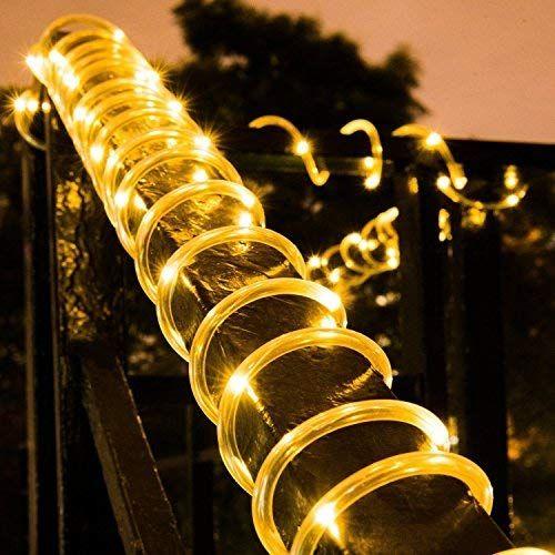 Solar 100Led Tube Rope Fairy String Strip Lights Waterproof Outdoor Garden Xmas