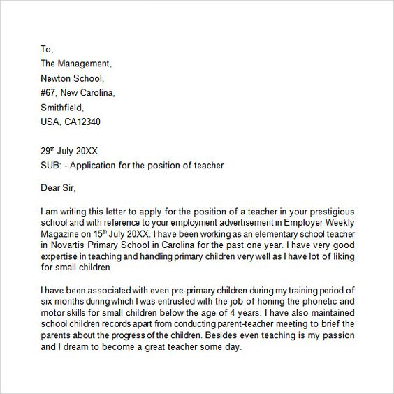 application letter free samples examples format for the post - application letter template