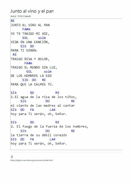 Junto Al Vino Y El Pan Letras Y Acordes Canciones Letras