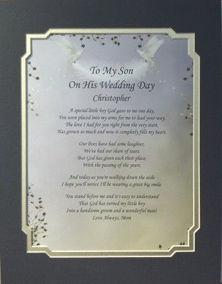 Details About TO MY SON ON HIS WEDDING DAY POEM PERSONALIZED GIFT