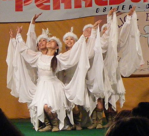 snow themed dancewear   Kazakh dancers