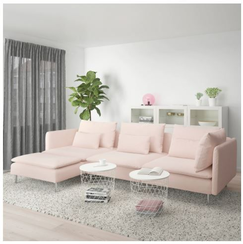 Samsta Pink Sofa From Ikea S 2020 Catalog Pink Living Room Decor Pink Couch Living Room Pink Living Room