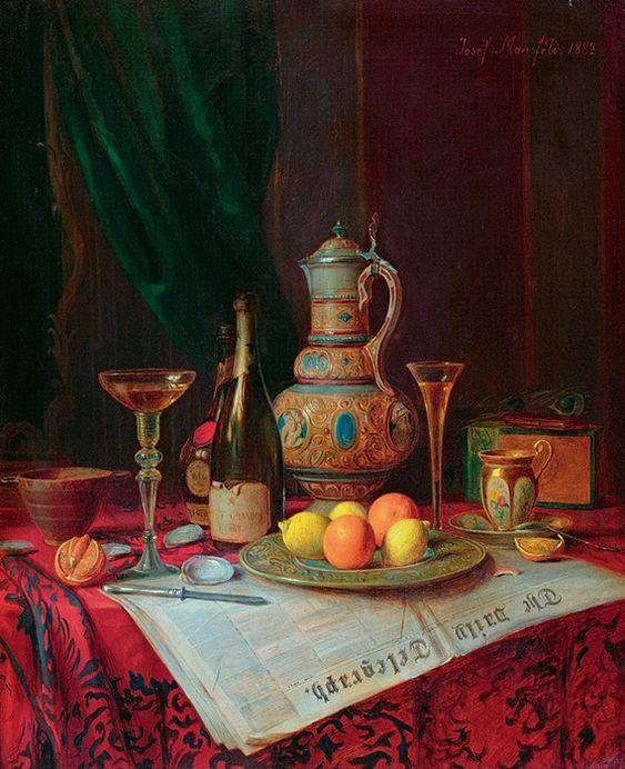 Джозеф Мансфельд, «Натюрморт с бутылкой шампанского», 1882