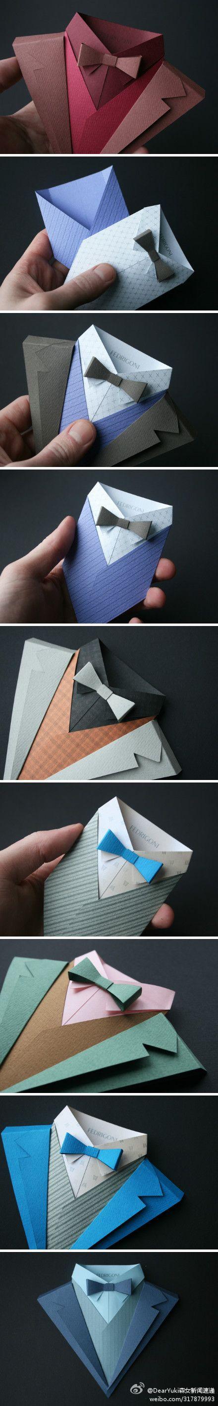 Origami traje con pajarita para un envoltorio original.: