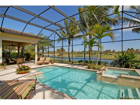 Tropical Pool And Spa Lake View Screened Lanai Palm