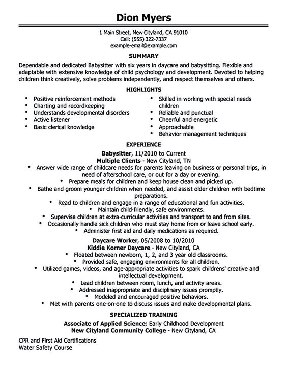 resume for babysitter Babysitter resume is going to help anyone - babysitting on a resume