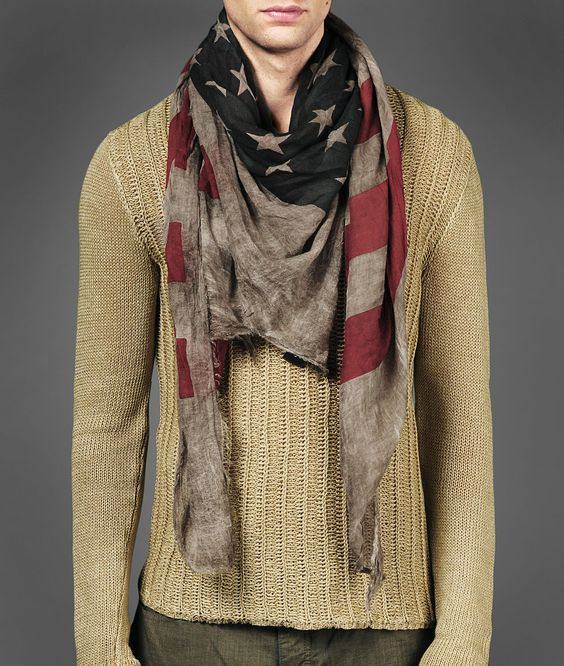 John Varvatos Antique Printed Flag Scarf.   I need this now!