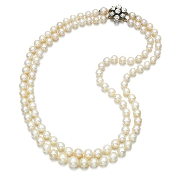 PROPERTY FROM THE ESTATE OF MARY, DUCHESS OF ROXBURGHE - Natural pearl and diamond necklace, late 19th century - Composed of two graduated rows of natural pearls measuring from approximately 5.65 to 9.50mm, on a clasp of floral design set with circular-cut diamonds, length approximately 420mm.