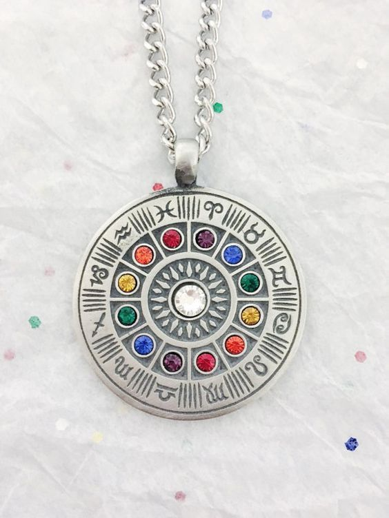 Zodiac Wheel Color Rhinestones Pendant Necklace - Pin this for later!