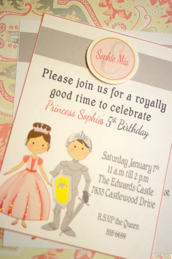 Knight and Princess Birthday Party: invitation idea