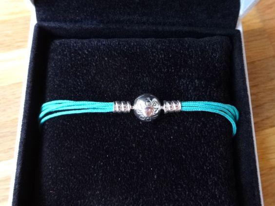 :-) Pandora Moments :-) Multi-Textilarmaband mit Kugelverschluss, aquamarine :-)