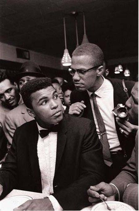 """Malcolm X & Mohammed Ali. """"You're not supposed to be so blind with patriotism that you can't face reality. Wrong is wrong, no matter who says it.""""( X ) . . . """"The fight is won or lost far away from witnesses – behind the lines, in the gym, and out there on the road, long before I dance under those lights."""" (Ali)"""