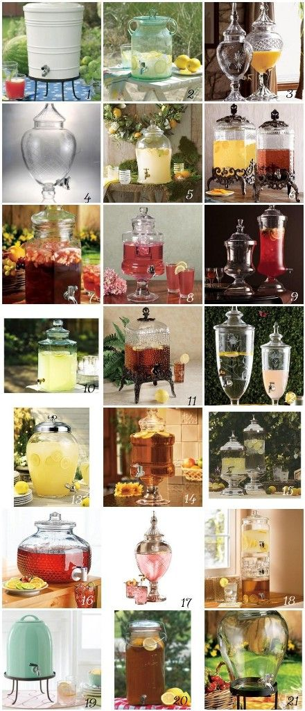Looking for drink dispensers? I love this super helpful inspiration board by Bonafide Bride! She even added links to all the places that you can purchase these drink dispensers and included how much they cost! And don't forget to check out the watermelon drink dispenser!