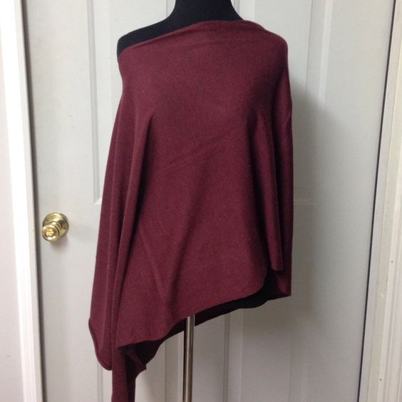 Burgundy Knit Shawl NWT Brand new never worn burgundy slip on shawl/ stole. Gorgeous over a black dress or with a statement necklace. One Size Fits All. Sweaters