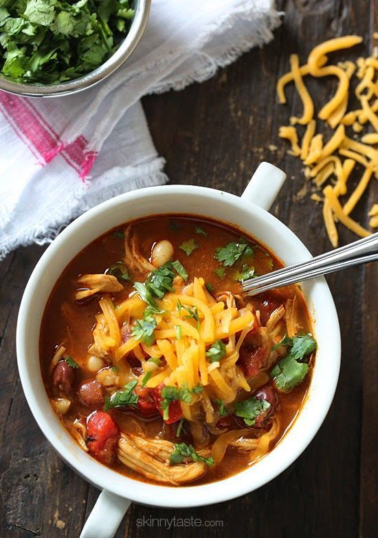 A delicious twist on traditional chili – shredded chicken, beans and BBQ sauce simmered in one big pot!