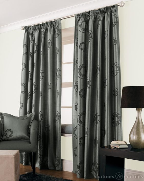 Curtains Ideas curtains for cheap : Silver Grey Black Faux Silk Lined Cheap Curtain | Cheap curtains ...