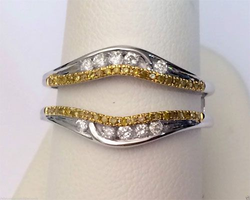 14k White Gold Solitaire Enhancer Canary Yellow Diamonds Ring Guard Wrap Jacket By Rg Amp D Yellow Diamond Rings Canary Yellow Diamonds White Gold Solitaire