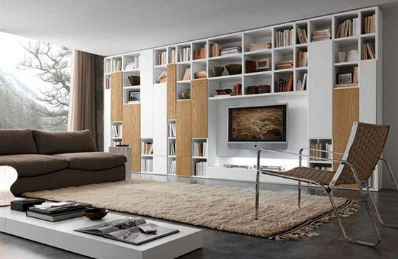 Wohnzimmer regalsystem ~ Regalsysteme design wohnzimmer fernseher beiger teppich regal