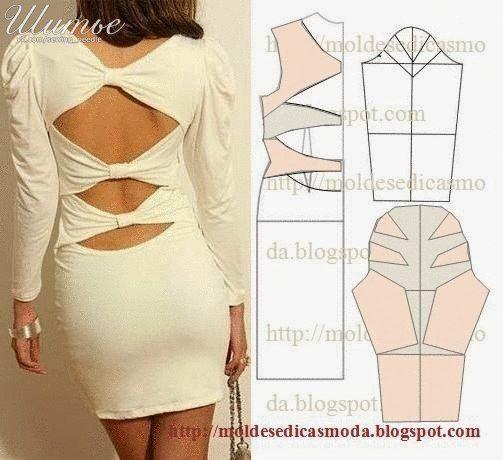 Ideas para el hogar: Molde de vestido con originales cortes en su espal...