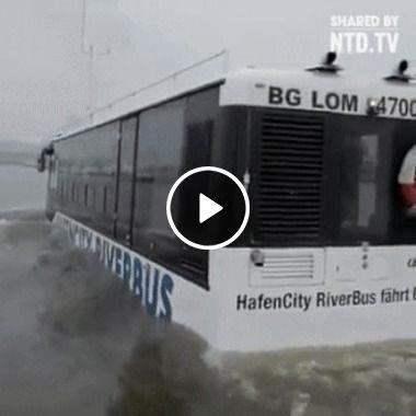 Esse ônibus consegue andar dentro d'água, ele é incrível!